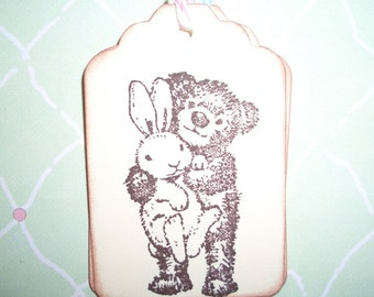 Easter Tags - Bear with Bunny Rabbit  Gift Tags - Set of Six -  Sweet