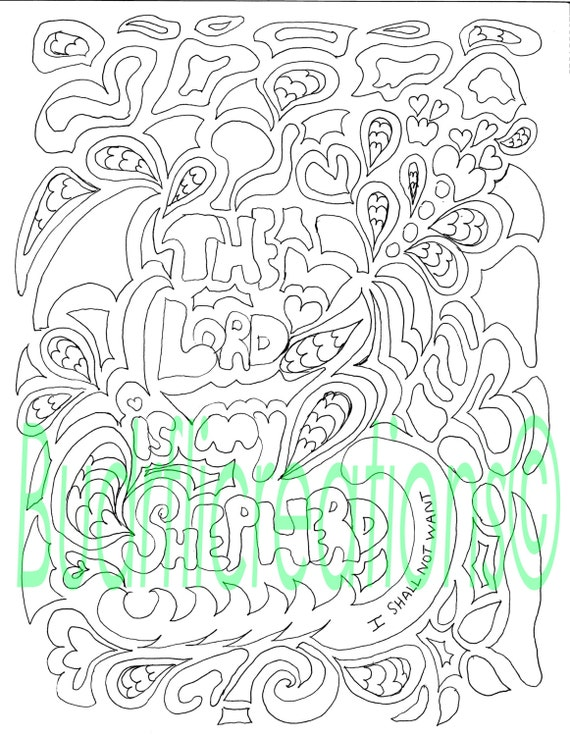 Psalms 23 The Lord is My Shepherd Adult Coloring Page Digital