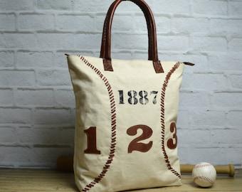 Baseball tote ~ Baseball Handbag ~ Laptop Tote ~ Leather Tote ~ Canvas Tote ~ Leather Canvas Tote ~ Spacious Handbag ~ Travel Tote~ white
