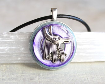 purple Anubis necklace, Anubis jewelry,  Anpu necklace, Egyptian necklace, Egyptian jewelry, mens jewelry, mens necklace, unique gift