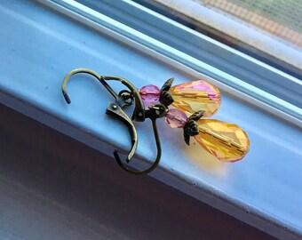 Yellow Pink Teardrop Luster Earrings