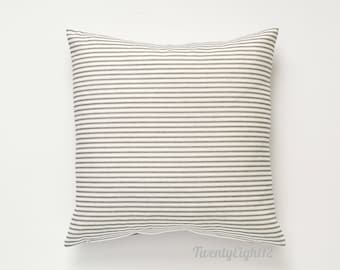 """Black and Ivory Ticking Stripe Pillow Cover - 20"""" x 20"""" - Black/Ivory Stripe, Cotton Pillow Cover, Decorative Pillow Cover, Stripe Pillow"""