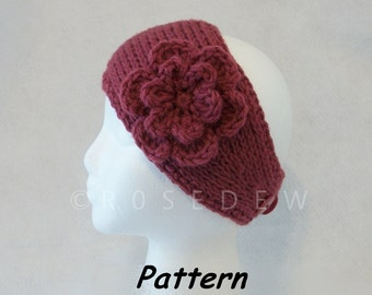 Instant Download for PDF Crochet PATTERN: Simple Tunisian Crocheted Headband with 6-Petal Flower