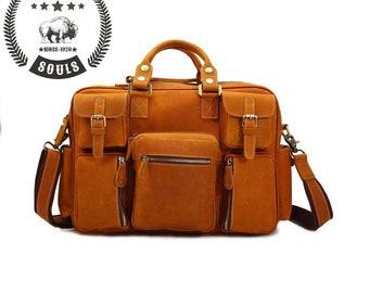 Leather Travel Bag Overnight luggage bag laptop messenger bag