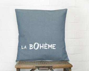 La Boheme blue grey Pillow case, Hand printed Cushion cover, euro sham 16 x 16 , bohemian home decor