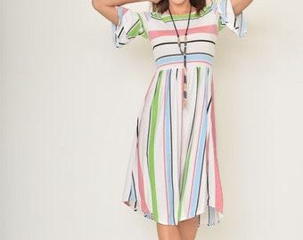 Colorful Stripe Ruffle Midi Dress