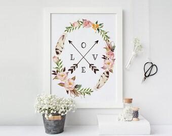 Love Floral Print, Printable Arrows, Gallery Wall Prints, Tribal Wall Art, Watercolor Dorm Decor, Nursery Decor Boho, Affiche Scandinave