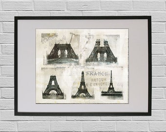 Paris Eiffel tower Construction - Paris Belle Epoque Fine Art Travel Poster Print Eiffel Tower Illustration