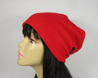 Boho Red Slouchy Hat Orange Slouch Hat Rib Knit Hat Reversible Slouchy Orange Red Beanie Lightweight Slouchy Beanie Boho Slouchy Beanie
