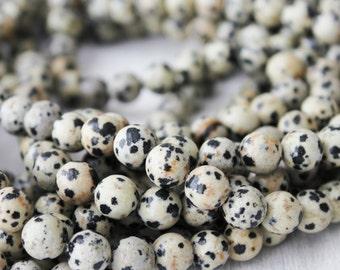 Dalmatian Jasper, 8mm round, gemstone beads, black & white gemstone, mala beads supply, full strand, jewelry supply