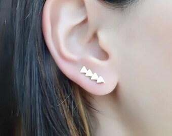 Triangle Ear Cuff , 925 Sterling Silver , Minimalist Ear Cuff , Ear Crawler , Geometric Ear Climber , Climber Earring , Climbing Earrings