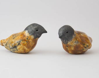 ceramic raku orange enamel 2 birds