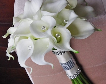 Silk Flower Wedding Bouquet - Calla Lilies Off White Natural Touch with Crystals Silk Bridal Bouquet