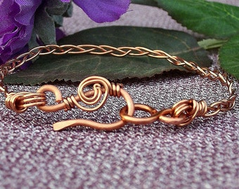 Copper Cuff  Bracelet/ Braided Wire/ Handcrafted