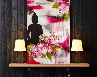 Warm-hearted Buddha mixed media original art Buddha painting by Marika Lemay mixed media artist