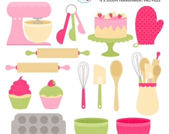 Pink & Green Baking Clipart Set - clip art set of cakes, whisk, spatula, bowls, bake - personal use, small commercial use, instant download