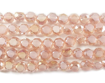 Pink Glass Faceted Coin Beads