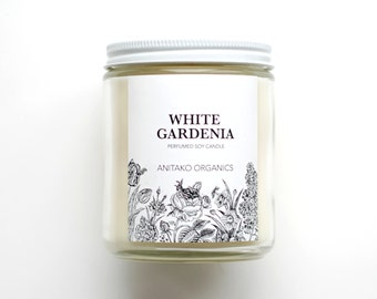 WHITE GARDENIA - Perfumed Soy Candle, Vegan, Natural Home Fragrance