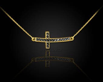 14K Gold Curved Mini Sideways Cross Black Diamond Necklace (yellow, white, rose gold)