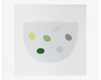 Emma Lawrenson original silkscreen print pastel colours, Small 'eggs' abstract screenprint, handmade modern art.