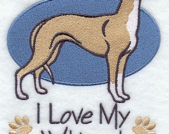I Love My Whippet Embroidered Flour Sack Hand/Dish Towel