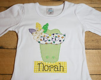 Mardi Gras Alligator Embroidered Shirt Personalized Customized Beads King Cake