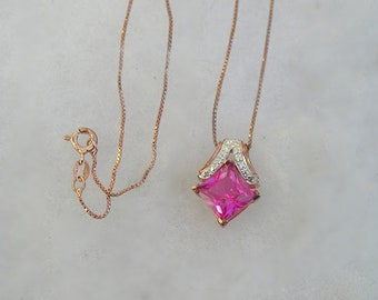Beautiful Rose Gold Vermeil Sterling Pink CZ Pendant Necklace Italy