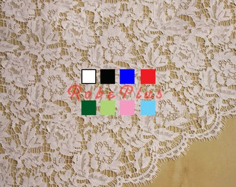 Corded Floral Lace Fabric with Scalloped Trim and Eyelash Finish  - Red Lace - White Lace -Black Lace - Blue Lace - Green Lace - Pink Lace 1