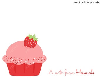 Strawberry Cupcake Note Cards Set of 10 personalized flat or folded cards