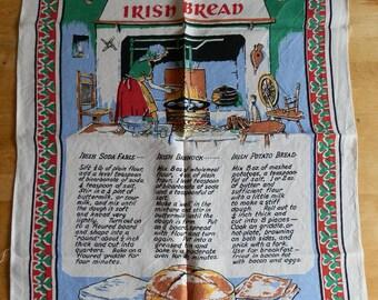 Vintage 1980's TRADITIONAL IRISH BREAD Recipe Pure LinenTea Towel Made in Ireland