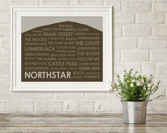 Northstar Ski Trails Print ~ Ski Lake Tahoe ~ Northstar CA Print ~ Gift for Skier ~ Northstar California ~ Skier Gift ~ Ski Art Print