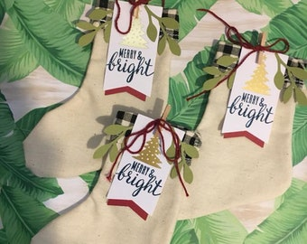 Mini Christmas Stockings - Merry & Bright