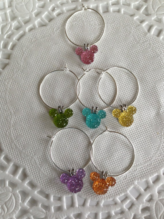 Disney Inspired Wedding Shower-Wine Charms-Jewel-Pastel Mickey Mouse Ears Shower Present-Kitchen Accessory