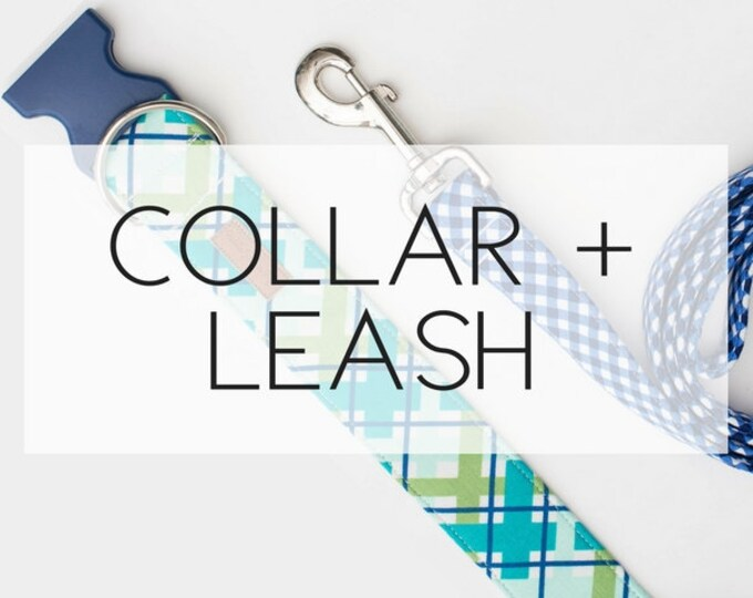 Featured listing image: Any Collar + Leash Package -please note the pattern(s) of your choice at checkout