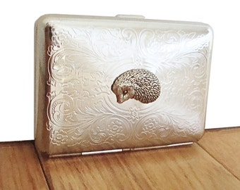 Hedgehog Cigarette Case or Business Card Holder. Scrolly Ornate Pattern.
