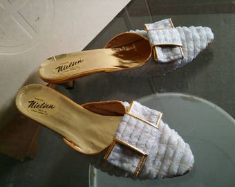 baby blue 1950's bedroom slippers. 37