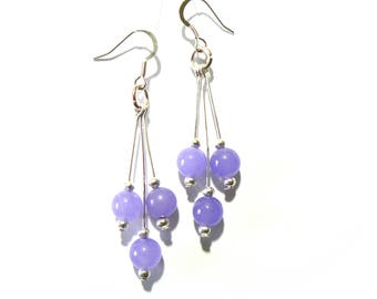 Sterling Silver And Gemstone French Wire Shepherds Hook Three Pin Drop Earrings. Any Gemstone You Want.