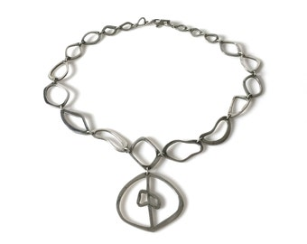 Vintage Reven Sterling Silver Linked Necklace With Pendant Made In Mexico