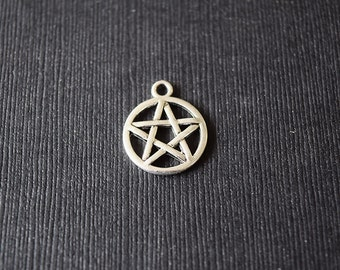 10 Pentagram Charms - Silver Toned Charms - Wiccan, Pagan - Supernatural - Pentacle - Religious Symbol - 15mm x 17mm
