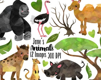 Watercolor Safari Animals Clipart - Wild Animals Download - Meerkat - Warthog - Camel - Gorilla - Hyena