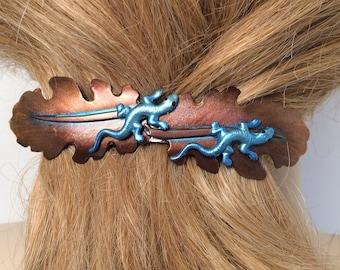 Hair Barrette with Blue Geckos, Extra large Hair barrette