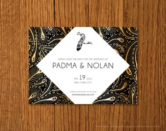 Gilded Peacock | Printable Save the Date Template | Instant Download