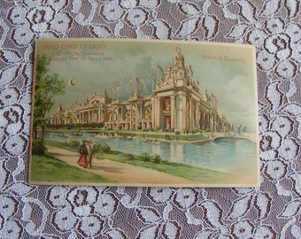 1904 St. Louis World's Fair Hold to Light Postcard Palace of Electricity HTL with Cut Out Windows and Moon Unused Samuel Cupples - 9776P