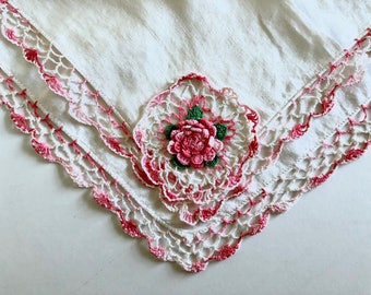 Handkerchief, Vintage Hand Crocheted Rose Flower,  Pink, White, Floral Crochet Hankies, Gift for Bride, Something Old, Vintage Wedding