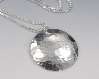 Sterling Silver Disc Pendant Necklace, Hammered Finish