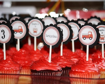 Fire Truck Cupcake Toppers - Fire Truck Birthday Decorations - Fire Truck Party - Fire Engine Birthday - Firefighter First birthday