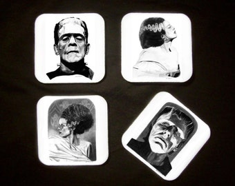 Four Drink Coasters - Frankenstein's Monster and The Bride - Original Graphite Portrait