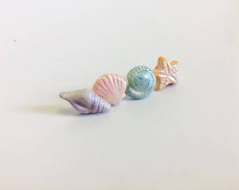 Seashell Studs, Shell Earrings, Starfish Earrings, Sealife Jewelry, Mermaid Jewellery, Pastel Earrings, Little Studs, Mermaid Post Earrings