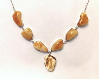 Butterscotch egg yolk baltic amber 64 ct. sterling silver necklace