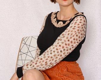 Bateau noir col chemisier avec de la dentelle Vintage, Long imprimé manches en Voile de coton de soie, Black Knit Top, mode féminine, en Australie